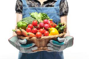 Hands full of fruit and veg